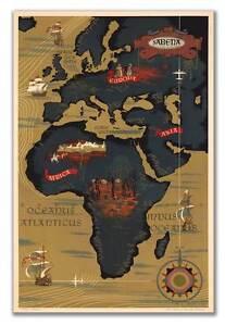 Sabena Airways MAP of AFRICA Belgian Airlines Belgium Poster Print