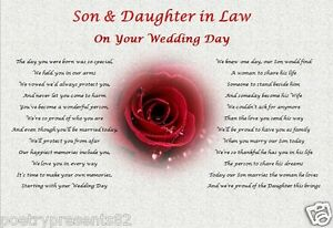 Image Is Loading Son Amp Daughter In Law Wedding Day Poem