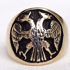 Imperial-Russian-Twin-Head-Eagle-Medieval-Coat-of-Arms-CZAR-IVAN-3rd-Men-039-s-Ring