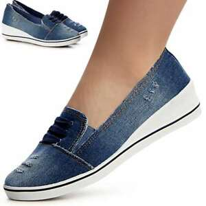 Damen-Keilabsatz-Jeans-Slipper-Sneaker-Ballerina-Turnschuhe-Pumps-Halbschuhe