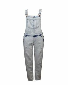 Women/'s Ladies ripped Dungarees Jeans Overalls Blue faded Sizes 8-14