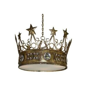 Gold Leaf Star Crown Chandelier Light Pendant Jewels Prince Princess King Queen