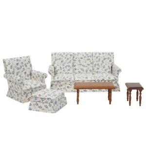 5x mini blau floral wohnzimmer set f r 1 12 miniatur puppenhaus m bel ebay. Black Bedroom Furniture Sets. Home Design Ideas