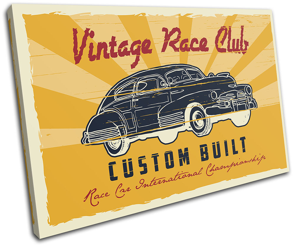 Race Garage Retro Car Car Car Vintage SINGLE TELA parete arte foto stampa 464e64