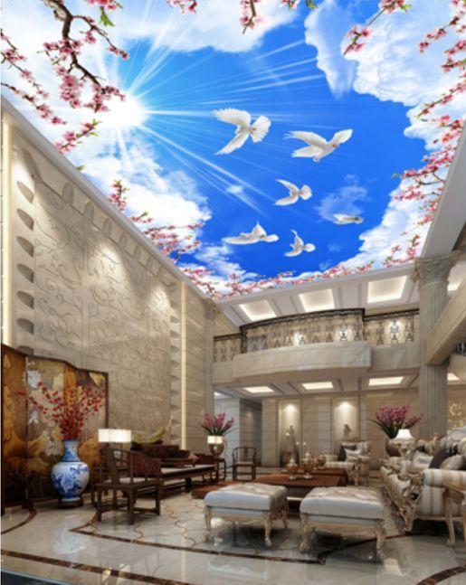 3D Blau Sky Dove Ceiling WallPaper Murals Wall Print Decal Deco AJ WALLPAPER GB
