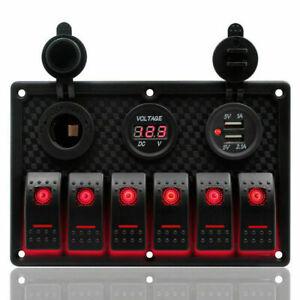 6Gang-LED-Schaltpanel-Schalter-Schalttafel-Voltmeter-Dual-USB-12-24V-Auto-Boot