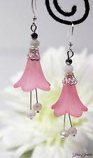 Glass Jewels Silber Ohrringe Ohrhänger Blüten Rosa Sommer Perlen Blume #LA009