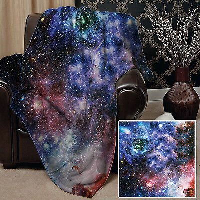 """58 x 58"""" Soft Fleece Blanket Cover Galaxy 2 Design Bed Sofa Chair Space Universe"""