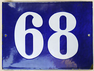 bf8a0e0ee766 Big blue French house number 68 door gate plate plaque enamel steel ...