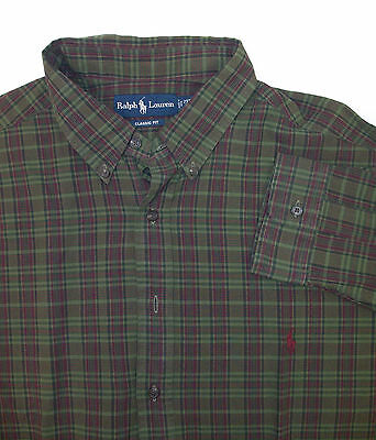 Polo Ralph Lauren Olive Green Red Plaid LS Classic Fit Sport Shirt 2XB  $95 NWT