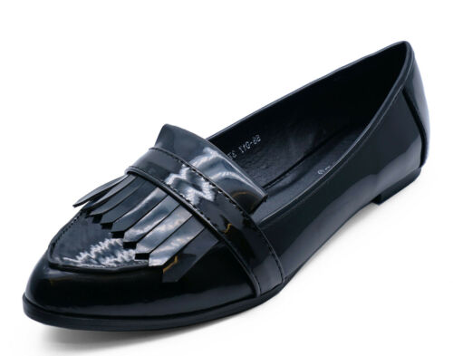 WOMENS BLACK FLAT CASUAL COMFY SMART WORK PATENT FRINGE LOAFERS SIZES UK 3-8