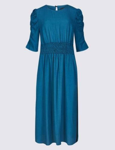 Ex M/&S Half Sleeve Waisted Black Side Stripe Midi Swing Dress Size 6-22