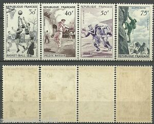 SERIE-SPORTIVE-1956-YT-1072-a-1075-TIMBRES-NEUFS-LUXE