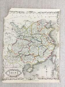 1848-Antik-Map-Of-China-Chinesisch-Reich-19th-Jahrhundert-Hand-Farbig-Gravur