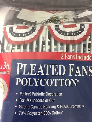 Large Size Pleated Fan 3ft x 6ft  Annin Flagmakers Patriotic RED WHITE BLUE