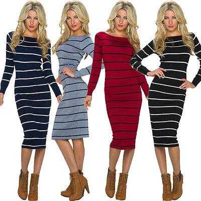 Damen Strickkleid Feinstrick Kleid knielang gestreift 34 36 38 Pullover Sweater