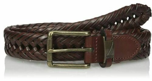 NEW NAUTICA HAND LACED TAN BRAIDED BELT 11NU04X003 251 32MM GOLD BUCKLE WEEVE