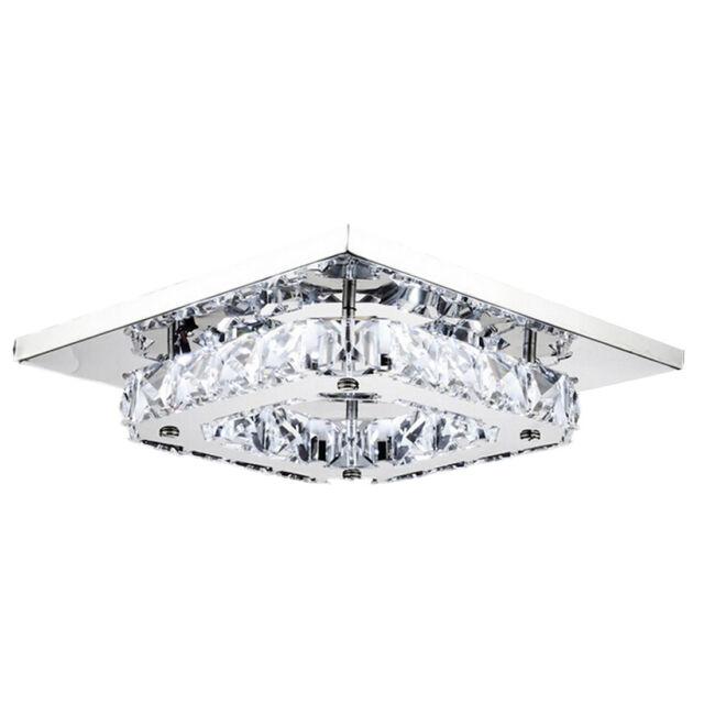 8 Led Crystal Flush Mount Modern Transpa Stainless Steel Ceiling Light V8f0