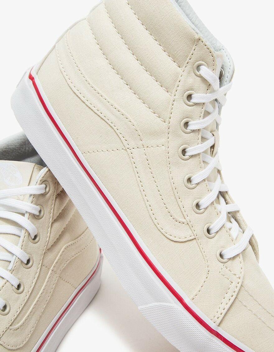 Vans Off the Wall Sk8 Hi Slim Canvas Bone True White shoes Mens 7.5 Women 9
