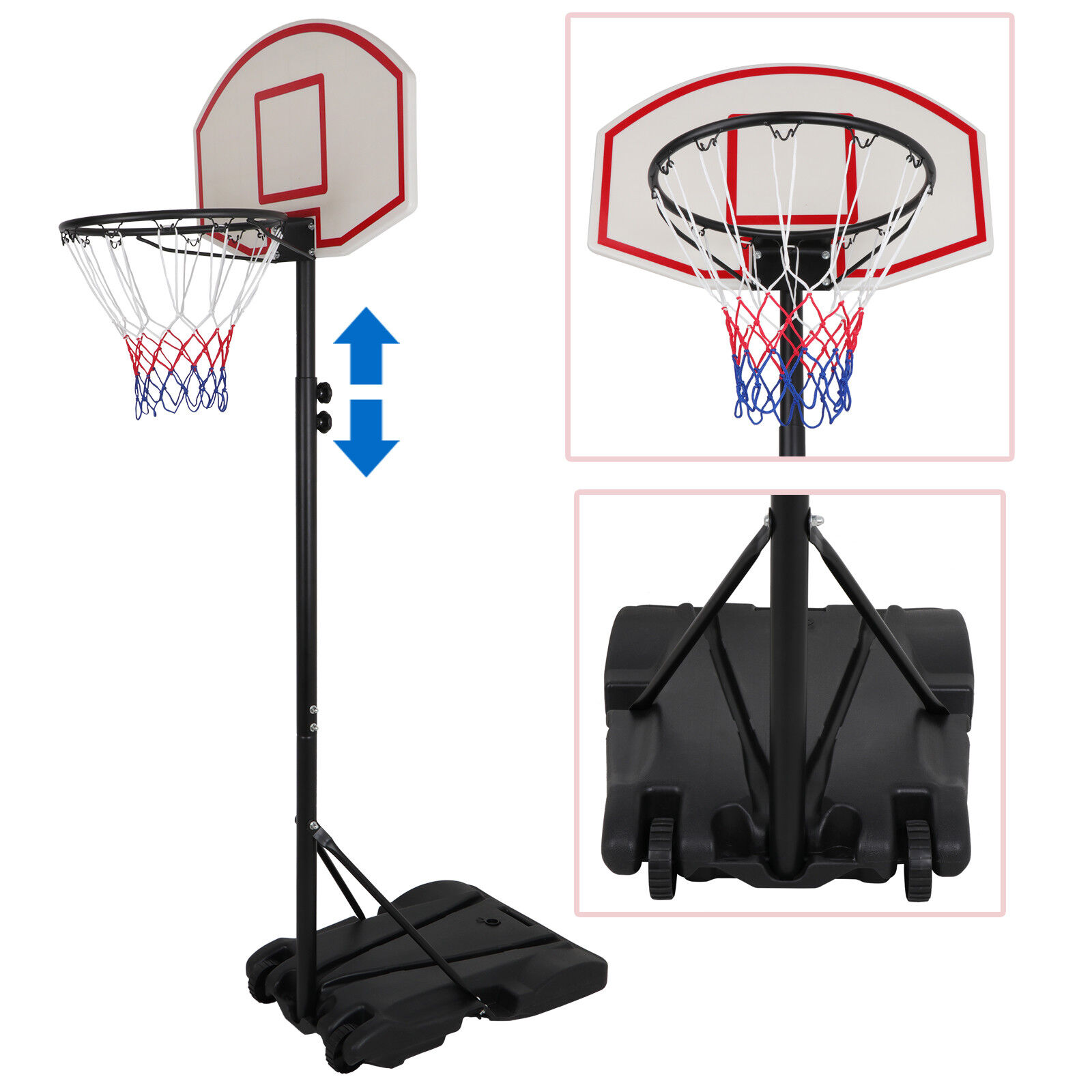 Greensen Basketball System Portable Basketball Hoop /& Goal with Backboard and Wheels Height Adjustable 1.9-3.05 m//6.2-10ft Removeable Basketball Hoop System for Kids Youth Adult Family Indoor