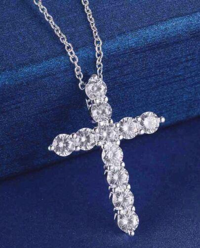 Crystal Cross Pendant Necklace 925 Sterling Silver Chain Women Lady Jesus BOX