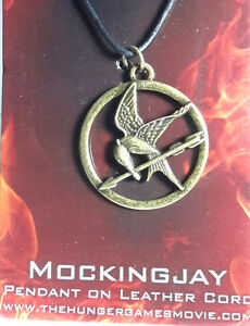 Hunger games mockingjay pendant on leather cord carded free sh image is loading hunger games mockingjay pendant on leather cord carded mozeypictures Images
