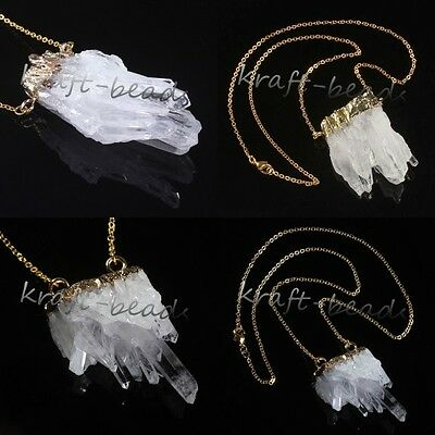 1x Silver/Gold Natural Random Rock Crystal Quartz Druzy Cluster Pendant Necklace