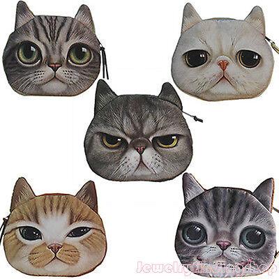 New Children Cute Cat Face Zipper Case Coin Kids Purse Wallet Makeup Bag Pouch J