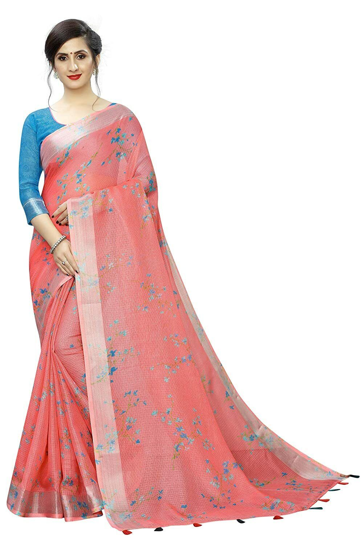 Indian Women's Digital Linen Saree with Unstitched Blouse Piece (DigiNet) PB