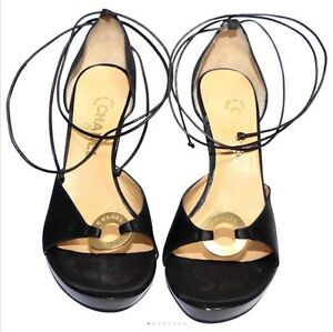 60599be27950 Image is loading Chanel-lace-up-wedge-heel-black-sandals-EU-