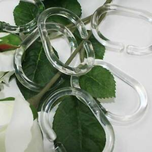12 PCS Set Clear Plastic Bathroom Shower Curtain Liner Hook Hooks Rings