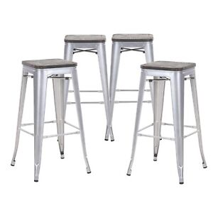 Set Of 4 Gray Wooden Seat 30 Inches Bar Height Metal Bar Stools