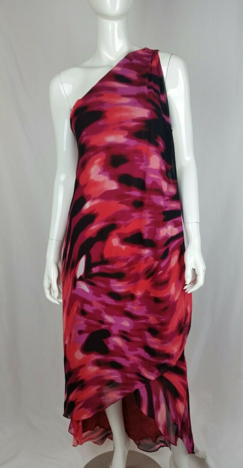 Boston Proper Sunset Waves Maxi One Shoulder Layered Hi Lo Shift Dress Size 6