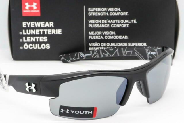 c99a6484bf NEW UNDER ARMOUR NITRO L SUNGLASSES UA Youth Fit Satin Black   Grey Mirror  lens