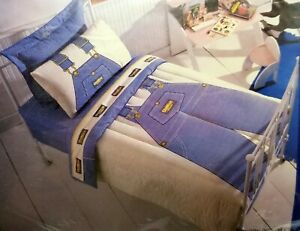Boys-OshKosh-Twin-Sheet-Set-Blue-Striped-Overalls-No-Iron-Percale-Utica-Vintage