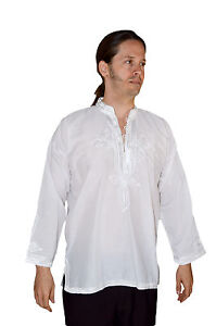 414af3d5c2d Image is loading Moroccan-Men-Tunic-Shirt-Cafan-Casual-Handmade-Embroidered-