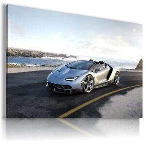 LAMBORGHINI-VENEO-SILVER-Sports-Car-Wall-Art-Canvas-AU458-UNFRAMED-ROLLED