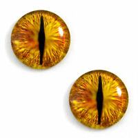 Pair Of 30mm Golden Dragon Glass Eyes For Jewelry Or Doll Making