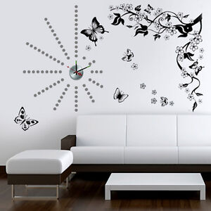 Wall stickers mural decal paper art decoration butterfly for Clock wall mural