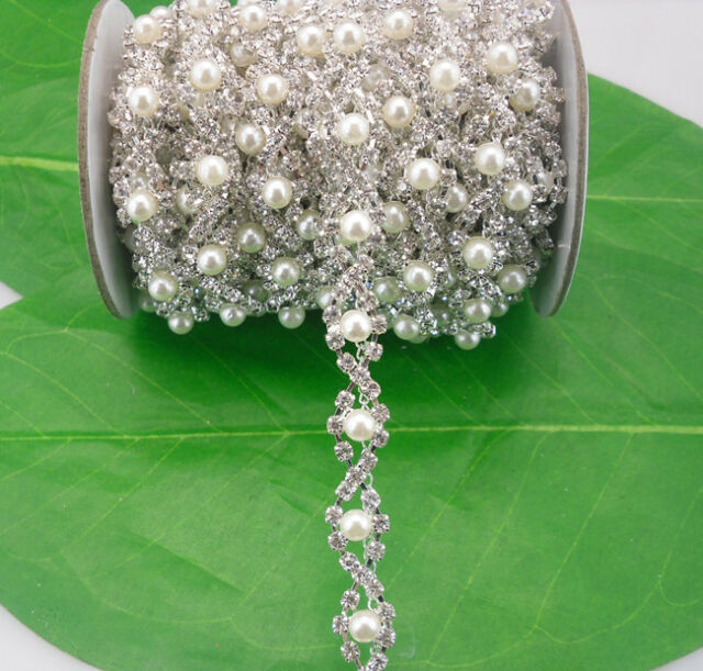costume applique rotate glass rhinestones 5mm pearl silver claw trim chain 1yard
