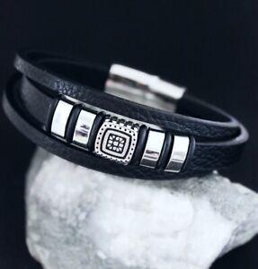 Leder-Armband-Edelstahl-Herren-Schwarz-Silber-Biker-Wikinger-Armkette