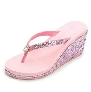 c8ae2f39670 Womens Diamante Glitter Wedge Heel Flip Flops Beach Thong Sandals ...