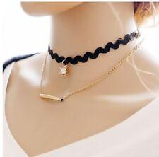 2016 New Gothic Black Lace Retro Choker Collar Crown Pendant chain Necklace AJ