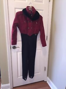 NILS Resort Collection Snow SKI Suit Womens Size 8 RED BLACK Schoeller Lined euc