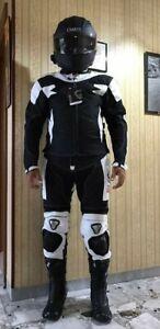 tuta-moto-pelle-e-tessuto-divisibile-giacca-Pantalone-BIESSE-PROTEZIONI-CE-3XL