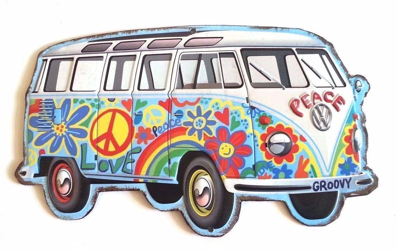 Volkswagen VW Hippie Bus Peace Sign Van Vanagon Car 3D Tin SIGN Wall Art Groovy