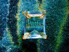Kenneth Jay Lane Large Crystal Aqua Blue Gold Adjustable Ring 5 - 9