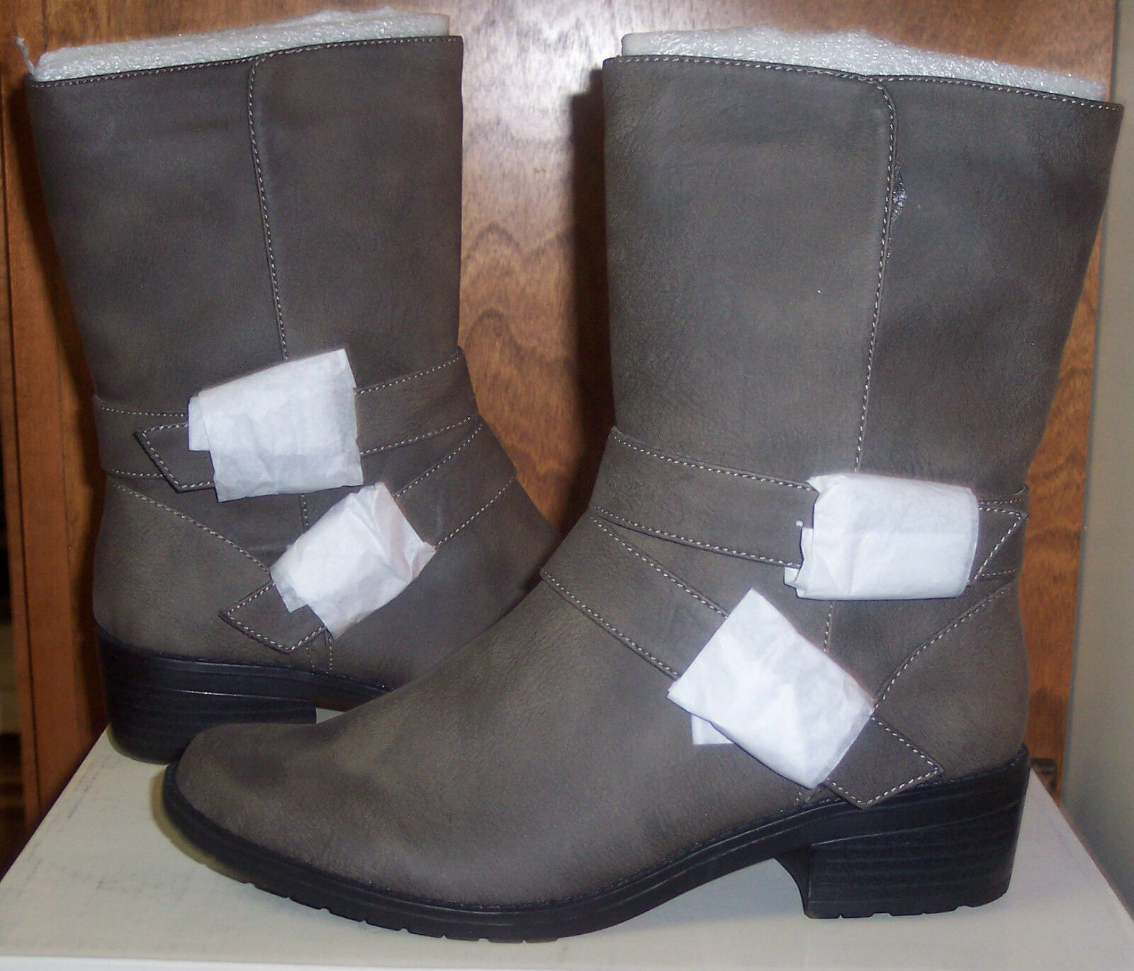 Anne Klein Lavinia Womens DK Taupe Belted Strap Side Zip Casual Boot Sz 6M NIB
