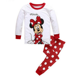 5ee5214415fd 2PCS SET Kids Girls Minnie Mouse Sleepwear Homewear Pyjamas Matching ...