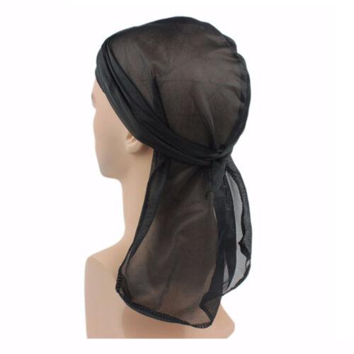 Solid Color Durag Pirate Cap Women Men Unisex Hat Nylon Cap Headwear Hiphop UK